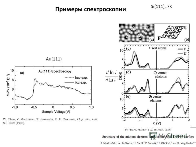 Примеры спектроскопии Si(111), 7K Au(111)