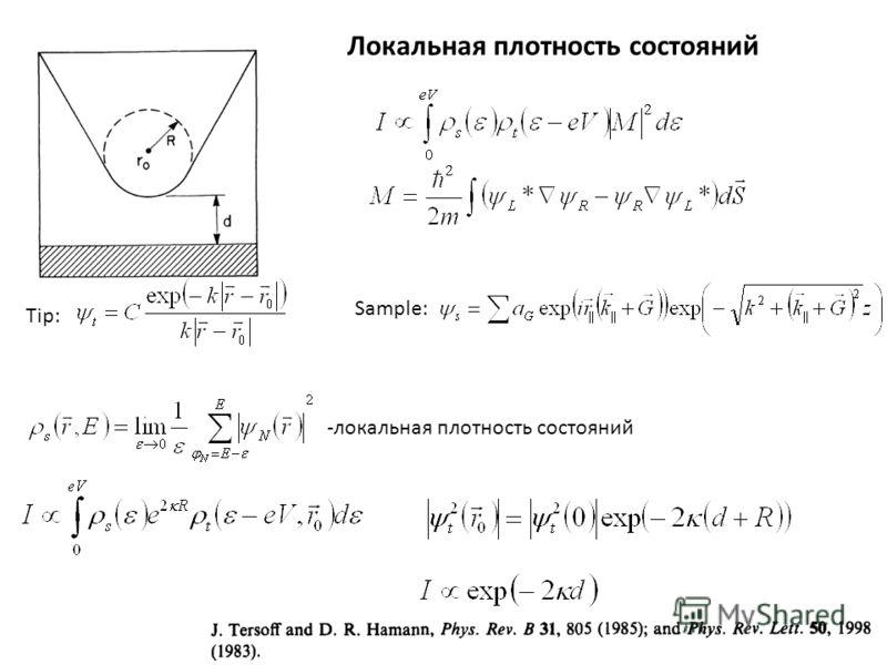 Tip: Sample: -локальная плотность состояний Локальная плотность состояний