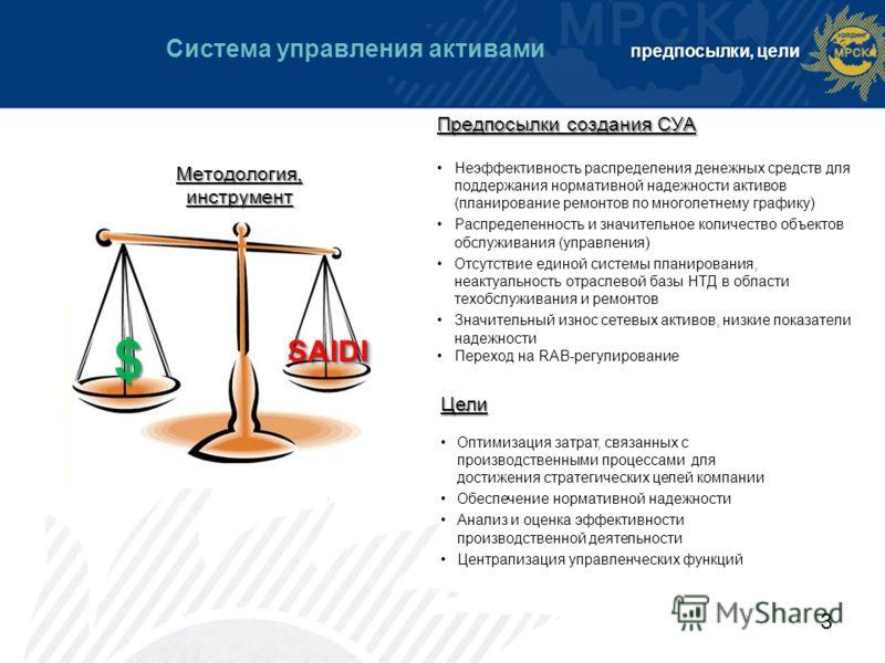 3 Цели Оптимизация затрат, связанных с производственными процессами для достижения стратегических целей компании Обеспечение нормативной надежности Анализ и оценка эффективности производственной деятельности Централизация управленческих функций Предп