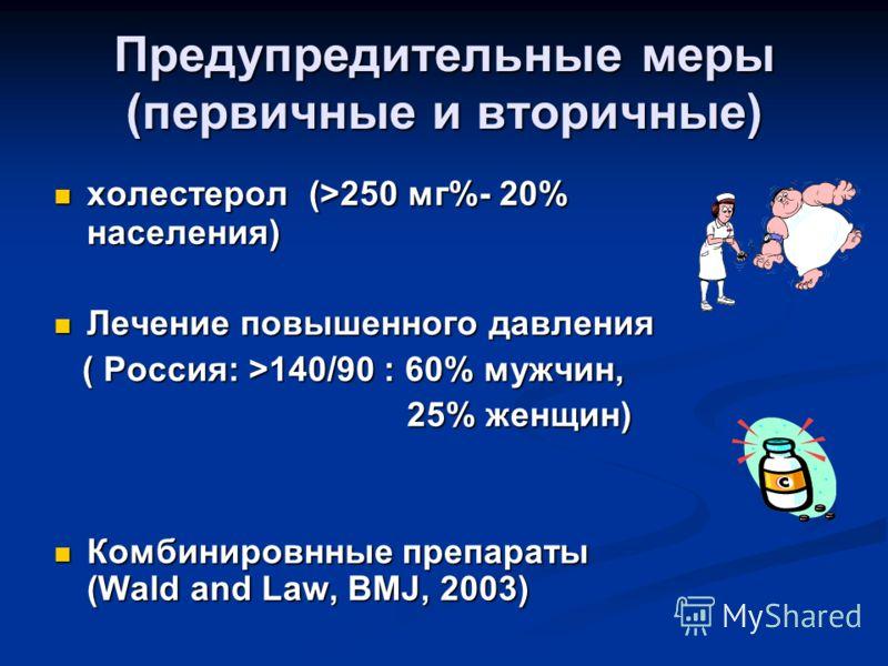 холестерол (>250 мг%- 20% населения) холестерол (>250 мг%- 20% населения) Лечение повышенного давления Лечение повышенного давления ( Россия: >140/90 : 60% мужчин, ( Россия: >140/90 : 60% мужчин, 25% женщин) 25% женщин) Комбинировнные препараты (Wald