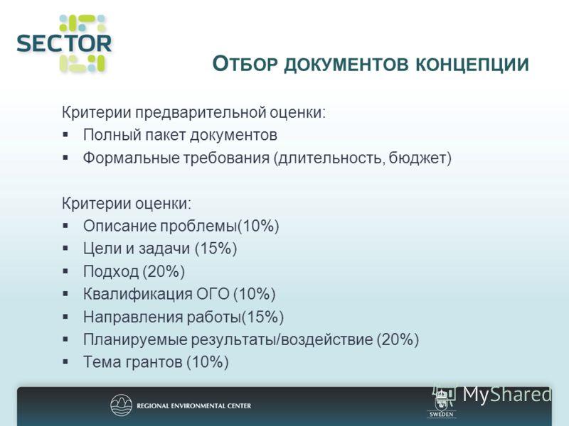 О ТБОР ДОКУМЕНТОВ КОНЦЕПЦИИ Критерии предварительной оценки: Полный пакет документов Формальные требования (длительность, бюджет) Критерии оценки: Описание проблемы(10%) Цели и задачи (15%) Подход (20%) Квалификация ОГО (10%) Направления работы(15%)