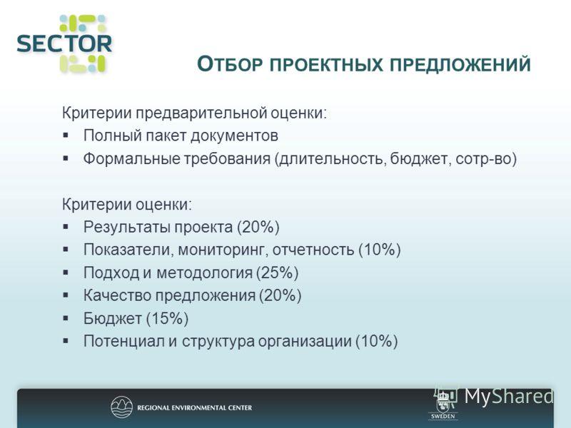 О ТБОР ПРОЕКТНЫХ ПРЕДЛОЖЕНИЙ Критерии предварительной оценки: Полный пакет документов Формальные требования (длительность, бюджет, сотр-во) Критерии оценки: Результаты проекта (20%) Показатели, мониторинг, отчетность (10%) Подход и методология (25%)