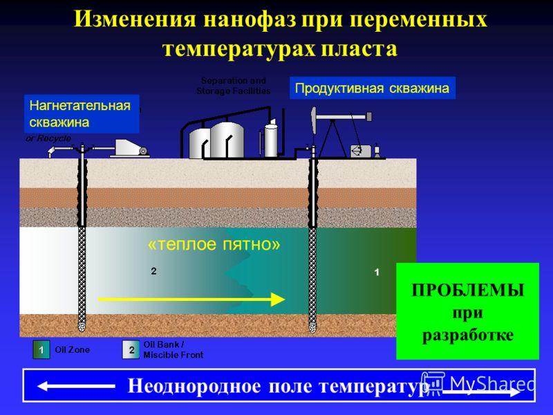 Неоднородное поле температур ПРОБЛЕМЫ при разработке Изменения нанофаз при переменных температурах пласта «теплое пятно» Продуктивная скважина Нагнетательная скважина
