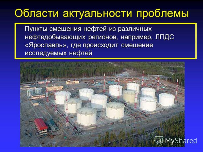 Области актуальности проблемы Пункты смешения нефтей из различных нефтедобывающих регионов, например, ЛПДС «Ярославль», где происходит смешение исследуемых нефтей Пункты смешения нефтей из различных нефтедобывающих регионов, например, ЛПДС «Ярославль