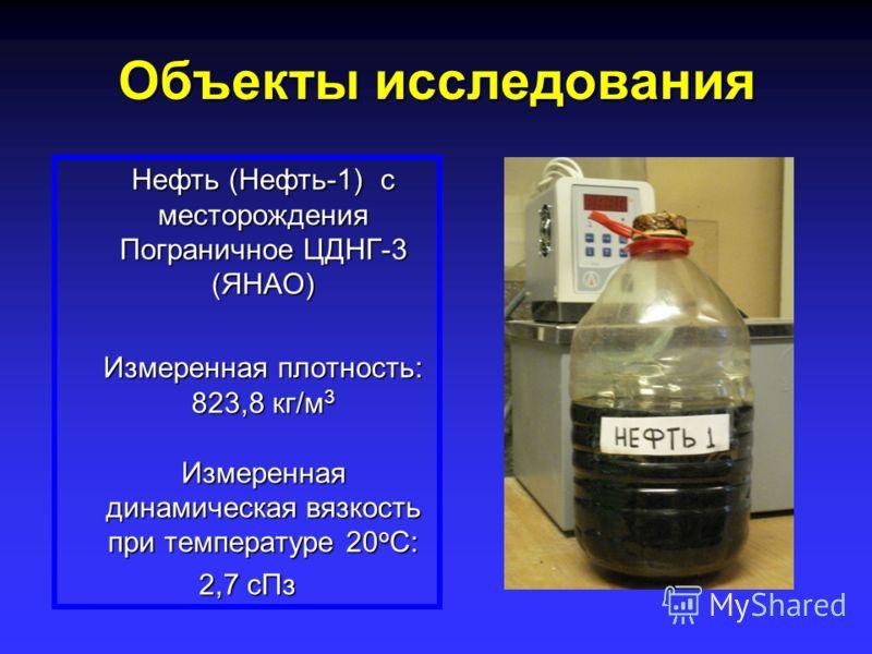 Объекты исследования Нефть (Нефть-1) с месторождения Пограничное ЦДНГ-3 (ЯНАО) Измеренная плотность: 823,8 кг/м 3 Измеренная динамическая вязкость при температуре 20 о С: 2,7 сПз