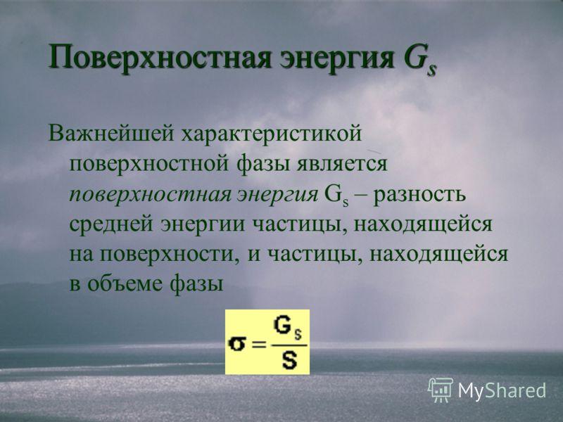 Поверхностная энергия G s Важнейшей характеристикой поверхностной фазы является поверхностная энергия G s – разность средней энергии частицы, находящейся на поверхности, и частицы, находящейся в объеме фазы