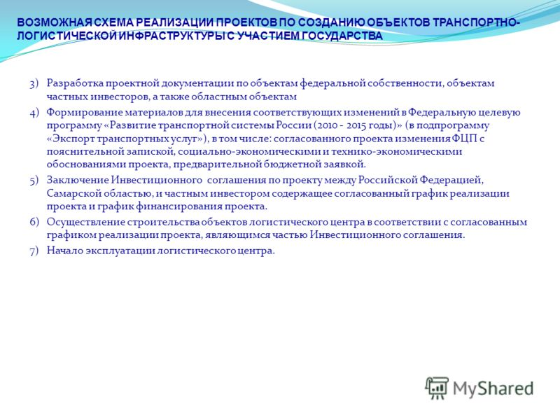 ВОЗМОЖНАЯ СХЕМА РЕАЛИЗАЦИИ ПРОЕКТОВ ПО СОЗДАНИЮ ОБЪЕКТОВ ТРАНСПОРТНО- ЛОГИСТИЧЕСКОЙ ИНФРАСТРУКТУРЫ С УЧАСТИЕМ ГОСУДАРСТВА 3) Разработка проектной документации по объектам федеральной собственности, объектам частных инвесторов, а также областным объек