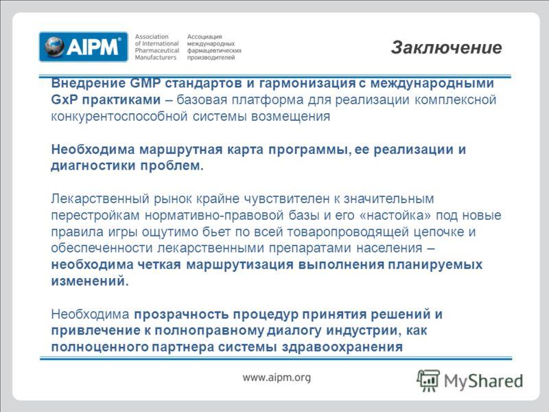 Заключение Внедрение GMP стандартов и гармонизация с международными GxP практиками – базовая платформа для реализации комплексной конкурентоспособной системы возмещения Необходима маршрутная карта программы, ее реализации и диагностики проблем. Лекар