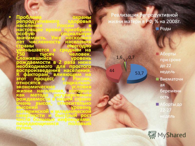 Реализация репродуктивной жизни матери в РФ, % на 2008г. Проблема охраны репродуктивного здоровья населения России в настоящее время приобрела особую социальную значимость. Уже несколько лет численность населения страны ежегодно уменьшается в среднем
