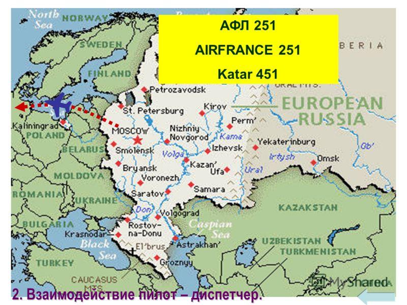 18 АФЛ 251 AIRFRANCE 251 Katar 451 2. Взаимодействие пилот – диспетчер.