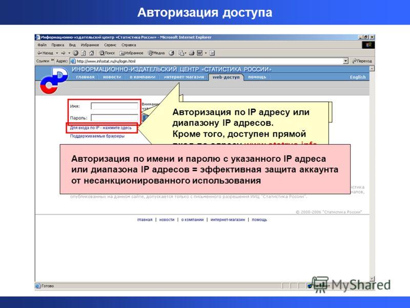 Авторизация по имени и паролю Авторизация доступа Авторизация по IP адресу или диапазону IP адресов. Кроме того, доступен прямой вход по адресу www.statrus.info Авторизация по имени и паролю с указанного IP адреса или диапазона IP адресов = эффективн