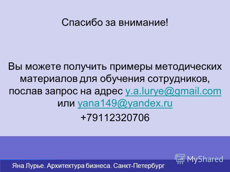 Спасибо за внимание! Вы можете получить примеры методических материалов для обучения сотрудников, послав запрос на адрес y.a.lurye@gmail.com или yana149@yandex.ruy.a.lurye@gmail.comyana149@yandex.ru +79112320706 Яна Лурье. Архитектура бизнеса. Санкт-