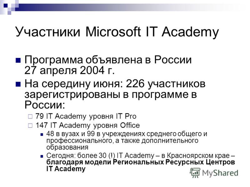 Участники Microsoft IT Academy Программа объявлена в России 27 апреля 2004 г. На середину июня: 226 участников зарегистрированы в программе в России: 79 IT Academy уровня IT Pro 147 IT Academy уровня Office 48 в вузах и 99 в учреждениях среднего обще