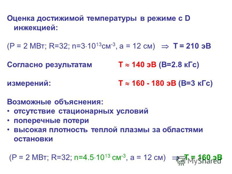Оценка достижимой температуры в режиме с D инжекцией: (P = 2 МВт; R=32; n=3 10 13 см -3, a = 12 см) T = 210 эВ Согласно результатам T 140 эВ (В=2.8 кГс) измерений:T 160 - 180 эВ (В=3 кГс) Возможные объяснения: отсутствие стационарных условий поперечн