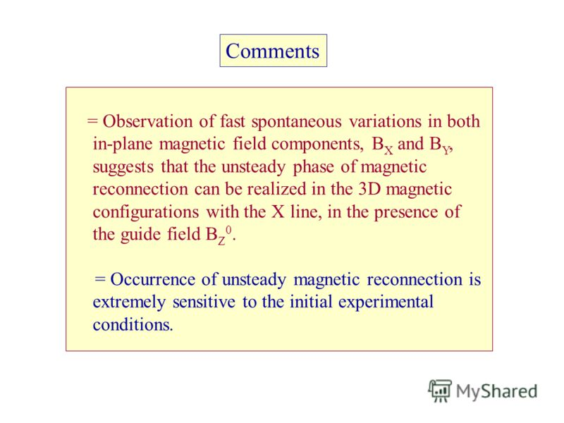 = Observation of fast spontaneous variations in both in-plane magnetic field components, B X and B Y, suggests that the unsteady phase of magnetic reconnection can be realized in the 3D magnetic configurations with the X line, in the presence of the