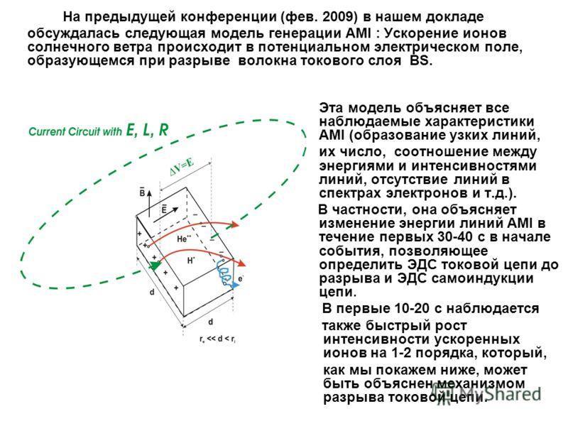 На предыдущей конференции (фев. 2009) в нашем докладе обсуждалась следующая модель генерации AMI : Ускорение ионов солнечного ветра происходит в потенциальном электрическом поле, образующемся при разрыве волокна токового слоя BS. Эта модель объясняет