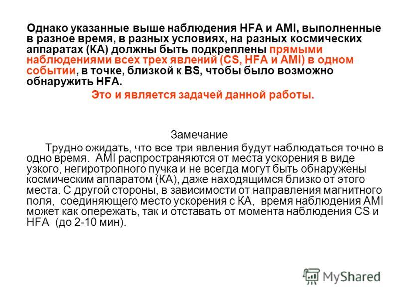 Однако указанные выше наблюдения HFA и AMI, выполненные в разное время, в разных условиях, на разных космических аппаратах (КА) должны быть подкреплены прямыми наблюдениями всех трех явлений (CS, HFA и AMI) в одном событии, в точке, близкой к BS, что