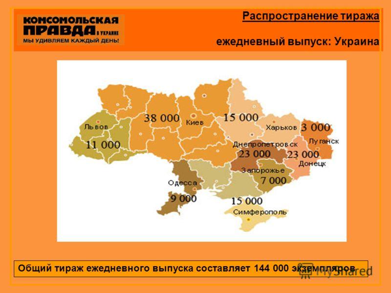 Распространение тиража ежедневный выпуск: Украина Общий тираж ежедневного выпуска составляет 144 000 экземпляров