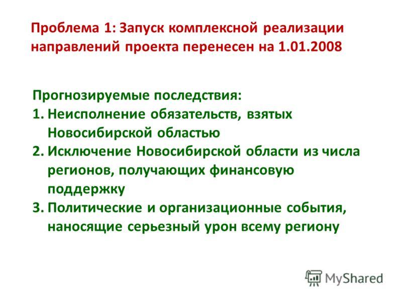 Проблема 1: Запуск комплексной реализации направлений проекта перенесен на 1.01.2008 Прогнозируемые последствия: 1.Неисполнение обязательств, взятых Новосибирской областью 2.Исключение Новосибирской области из числа регионов, получающих финансовую по