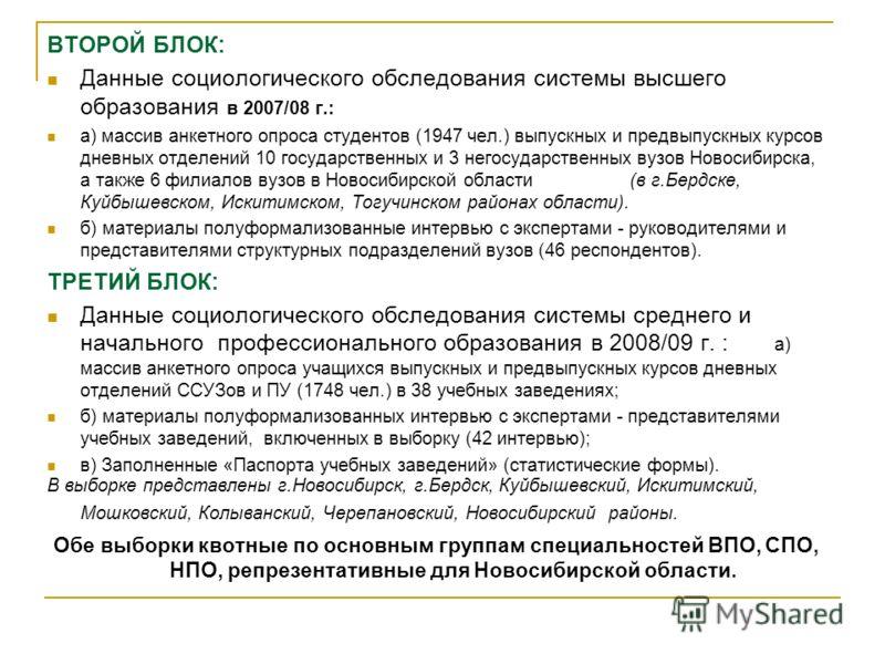 ВТОРОЙ БЛОК: Данные социологического обследования системы высшего образования в 2007/08 г.: а) массив анкетного опроса студентов (1947 чел.) выпускных и предвыпускных курсов дневных отделений 10 государственных и 3 негосударственных вузов Новосибирск