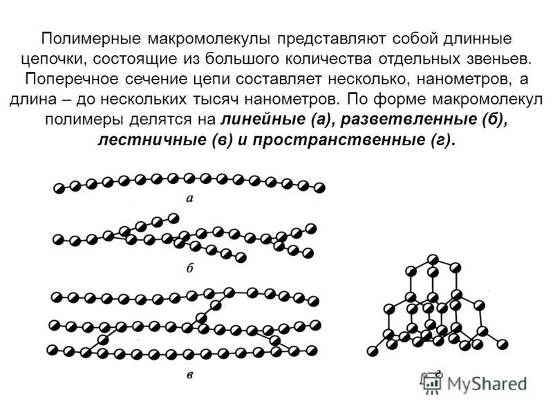 Полимерные макромолекулы представляют собой длинные цепочки, состоящие из большого количества отдельных звеньев. Поперечное сечение цепи составляет несколько, нанометров, а длина – до нескольких тысяч нанометров. По форме макромолекул полимеры делятс