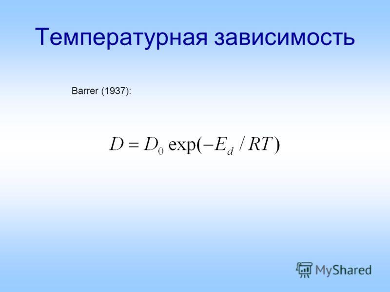 Температурная зависимость Barrer (1937):