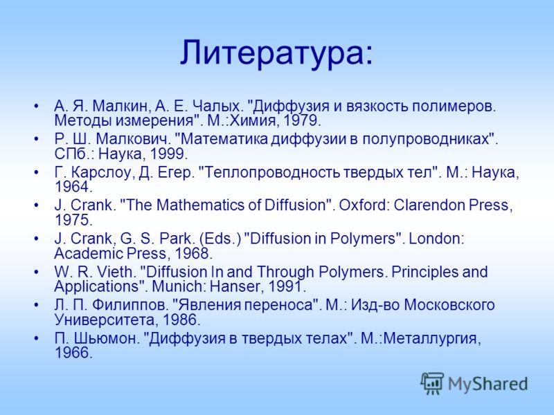 Литература: А. Я. Малкин, А. Е. Чалых.