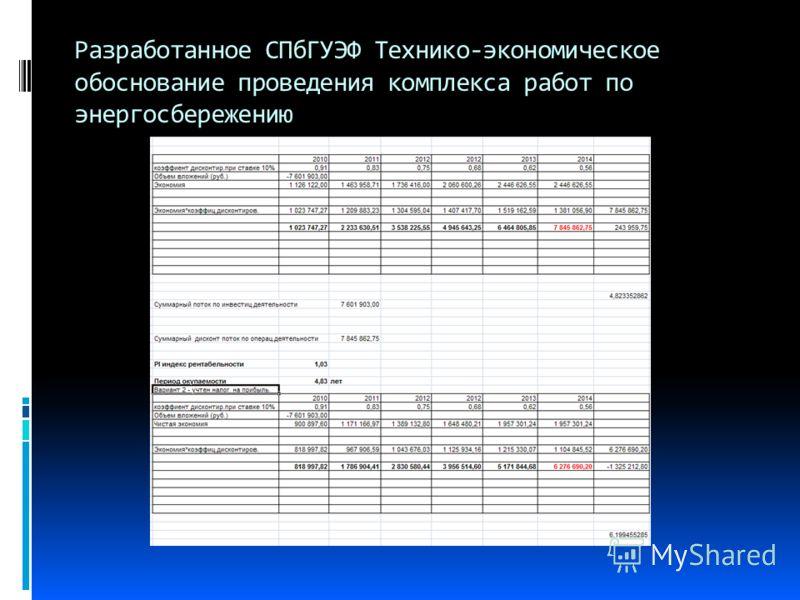 Разработанное СПбГУЭФ Технико-экономическое обоснование проведения комплекса работ по энергосбережению