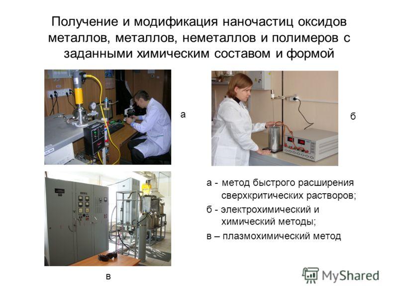 Получение и модификация наночастиц оксидов металлов, металлов, неметаллов и полимеров с заданными химическим составом и формой а - метод быстрого расширения сверхкритических растворов; б - электрохимический и химический методы; в – плазмохимический м