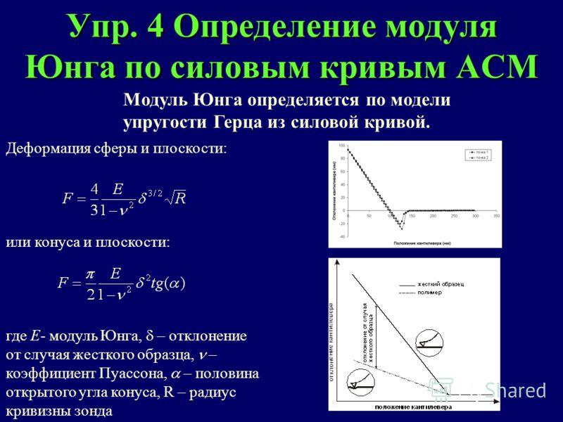 Упр. 4 Определение модуля Юнга по силовым кривым АСМ Модуль Юнга определяется по модели упругости Герца из силовой кривой. Деформация сферы и плоскости: или конуса и плоскости: где Е- модуль Юнга, – отклонение от случая жесткого образца, – коэффициен