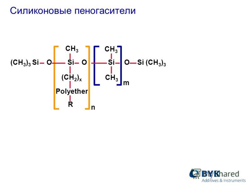 Силиконовые пеногасители n (CH 3 ) 3 Si O Si O Si O Si (CH 3 ) 3 CH 3 (CH 2 ) x Polyether R m