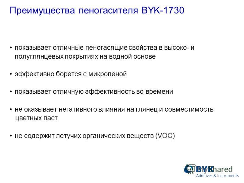 Преимущества пеногасителя BYK-1730 показывает отличные пеногасящие свойства в высоко- и полуглянцевых покрытиях на водной основе эффективно борется с микропеной показывает отличную эффективность во времени не оказывает негативного влияния на глянец и
