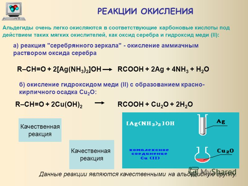 РЕАКЦИИ ВОССТАНОВЛЕНИЯ Альдегиды при взаимодействии с водородом в присутствии Ni-катализатора образуют первичные спирты, кетоны - вторичные