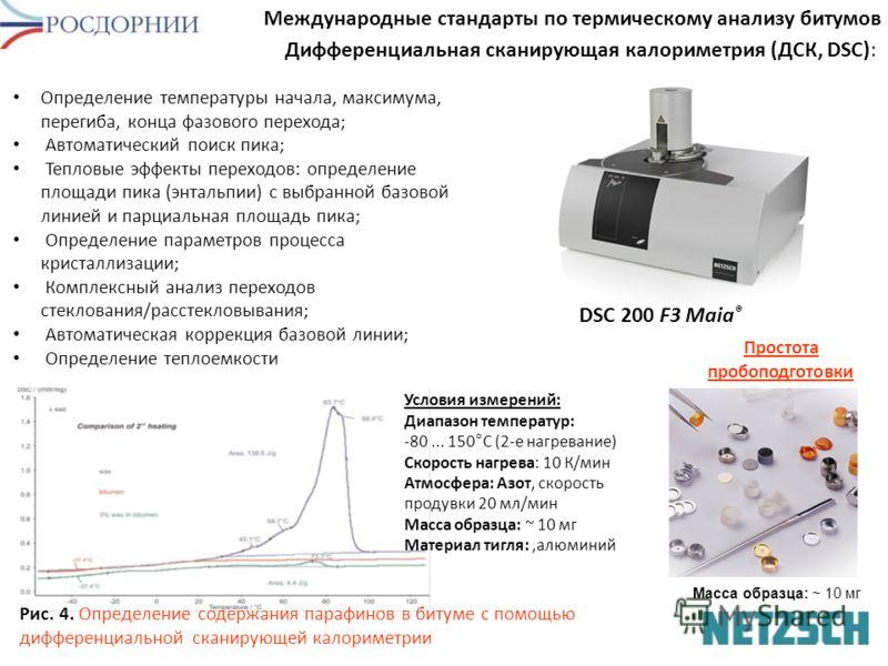 Дифференциальная сканирующая калориметрия (ДСК, DSC): Международные стандарты по термическому анализу битумов Определение температуры начала, максимума, перегиба, конца фазового перехода; Автоматический поиск пика; Тепловые эффекты переходов: определ