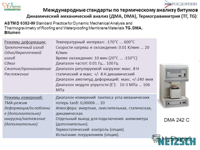 Динамический механический анализ (ДМА, DMA), Термогравиметрия (ТГ, TG) : Международные стандарты по термическому анализу битумов DMA 242 С ASTM D 6382-99 Standard Practice for Dynamic Mechanical Analysis and Thermogravimetry of Roofing and Waterproof