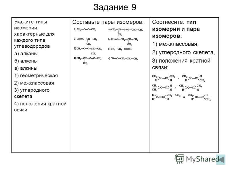 Задание 9 Укажите типы изомерии, характерные для каждого типа углеводородов а) алканы б) алкены в) алкины 1) геометрическая 2) межклассовая 3) углеродного скелета 4) положения кратной связи Составьте пары изомеров:Соотнесите: тип изомерии и пара изом