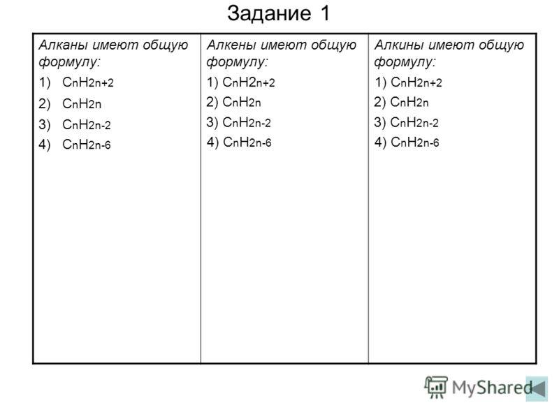 Задание 1 Алканы имеют общую формулу: 1) С n Н 2n+2 2) С n Н 2 n 3) С n Н 2n-2 4) С n Н 2n-6 Алкены имеют общую формулу: 1) С n Н2 n+2 2) С n Н 2n 3) С n Н 2n-2 4) С n Н 2n-6 Алкины имеют общую формулу: 1) С n Н 2n+2 2) С n Н 2n 3) С n Н 2n-2 4) С n