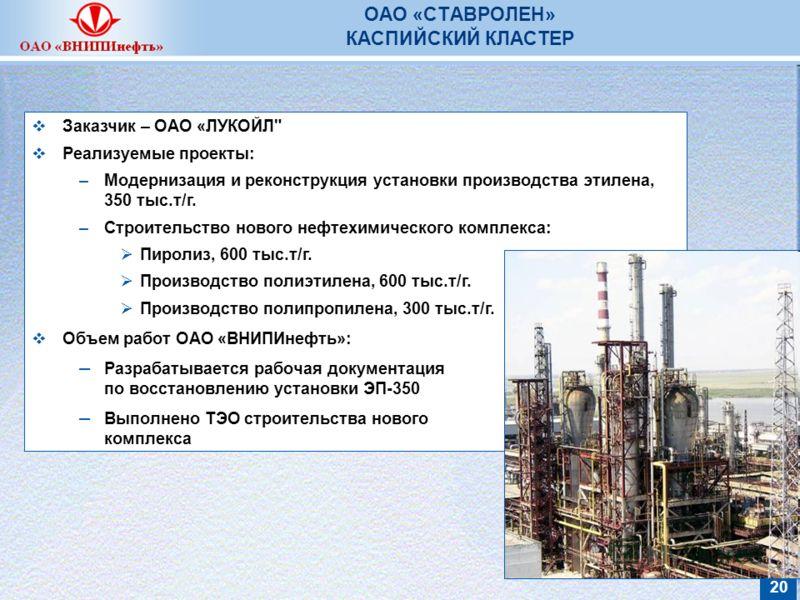 20 ОАО «СТАВРОЛЕН» КАСПИЙСКИЙ КЛАСТЕР Заказчик – ОАО «ЛУКОЙЛ