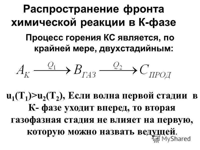 Распространение фронта химической реакции в К-фазе Процесс горения КС является, по крайней мере, двухстадийным: u 1 (T 1 )>u 2 (T 2 ), Если волна первой стадии в К- фазе уходит вперед, то вторая газофазная стадия не влияет на первую, которую можно на