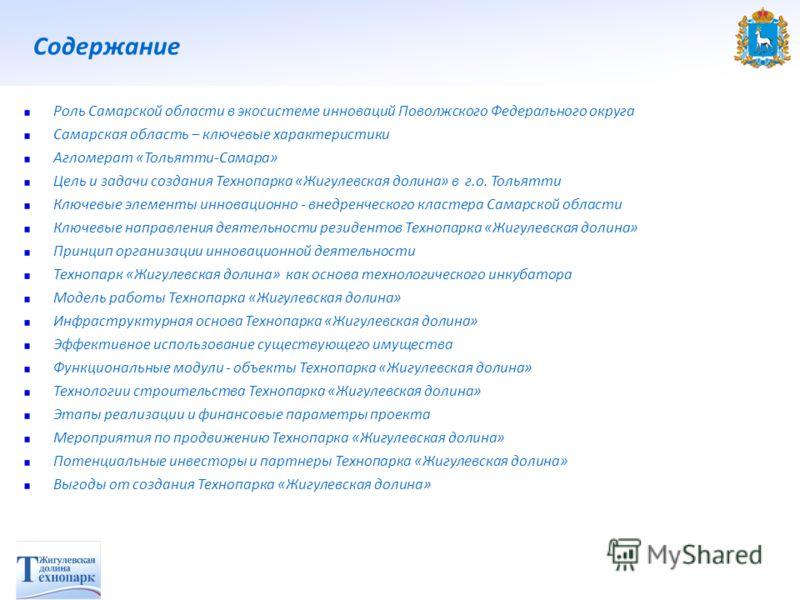 Содержание Роль Самарской области в экосистеме инноваций Поволжского Федерального округа Самарская область – ключевые характеристики Агломерат «Тольятти-Самара» Цель и задачи создания Технопарка «Жигулевская долина» в г.о. Тольятти Ключевые элементы