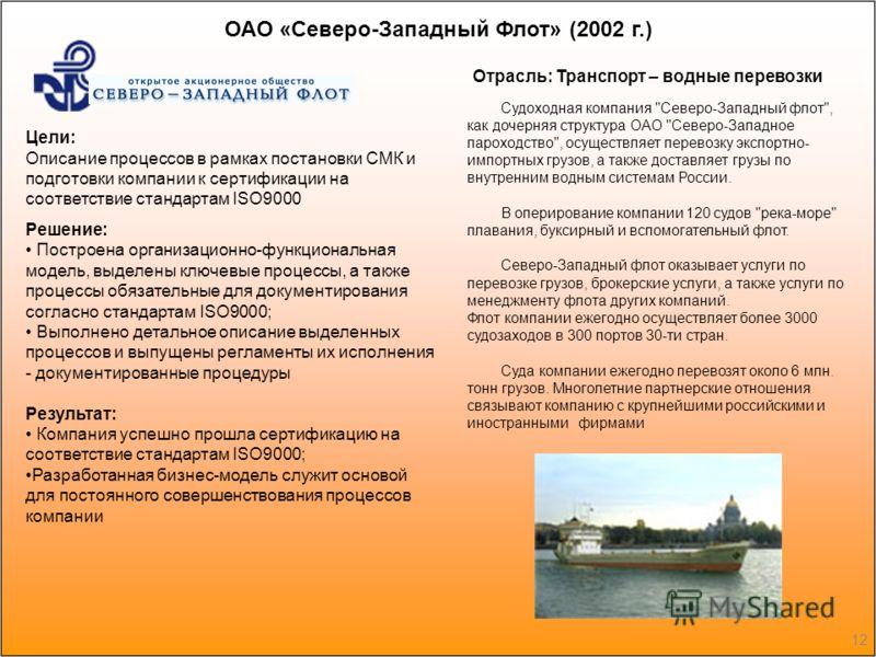 12 ОАО «Северо-Западный Флот» (2002 г.) Судоходная компания