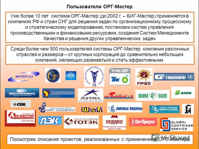 Уже более 10 лет система ОРГ-Мастер (до 2002 г. – БИГ-Мастер) применяется в компаниях РФ и стран СНГ для решения задач по организационному, процессному и стратегическому моделированию, постановки систем управления производственными и финансовыми ресу