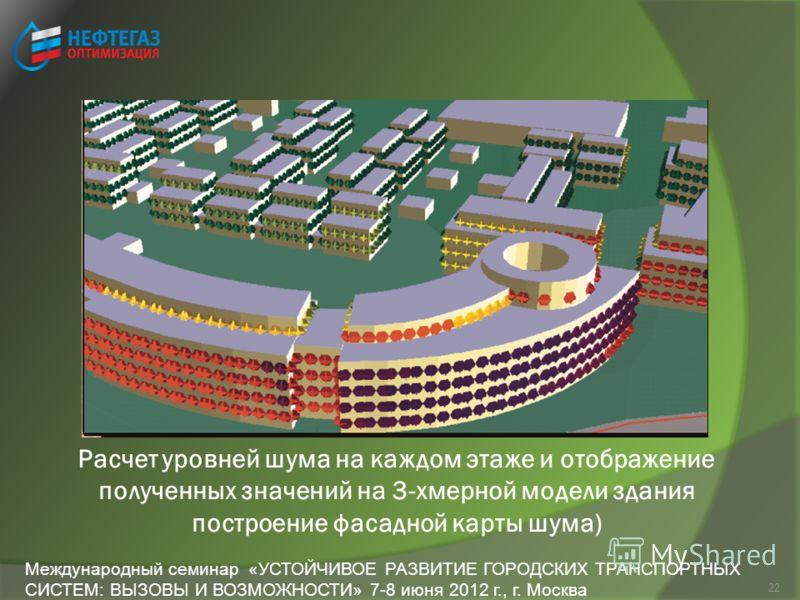 22 Расчет уровней шума на каждом этаже и отображение полученных значений на 3-хмерной модели здания построение фасадной карты шума) Международный семинар «УСТОЙЧИВОЕ РАЗВИТИЕ ГОРОДСКИХ ТРАНСПОРТНЫХ СИСТЕМ: ВЫЗОВЫ И ВОЗМОЖНОСТИ» 7-8 июня 2012 г., г. М