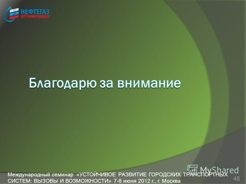 48 Международный семинар «УСТОЙЧИВОЕ РАЗВИТИЕ ГОРОДСКИХ ТРАНСПОРТНЫХ СИСТЕМ: ВЫЗОВЫ И ВОЗМОЖНОСТИ» 7-8 июня 2012 г., г. Москва