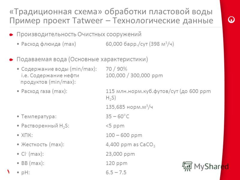 Производительность Очистных сооружений Расход флюида (max) 60,000 барр./сут (398 м 3 /ч) Подаваемая вода (Основные характеристики) Содержание воды (min/max):70 / 90% i.e. Содержание нефти 100,000 / 300,000 ppm продуктов (min/max): Расход газа (max):