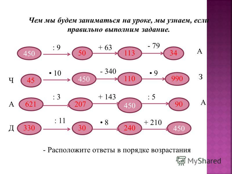 Чем мы будем заниматься на уроке, мы узнаем, если правильно выполним задание. 450 : 9+ 63 - 79 А Ч 10 - 340 9 З А : 3+ 143: 5 А Д : 11 8+ 210 - Расположите ответы в порядке возрастания 50113 34 45 110990 90207621 24030330