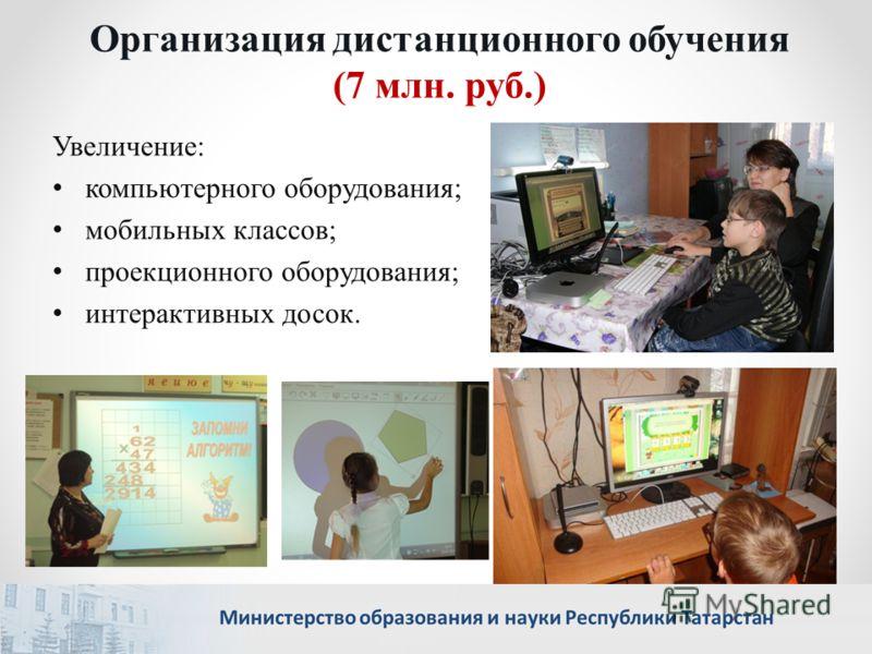 Организация дистанционного обучения (7 млн. руб.) Увеличение: компьютерного оборудования; мобильных классов; проекционного оборудования; интерактивных досок.