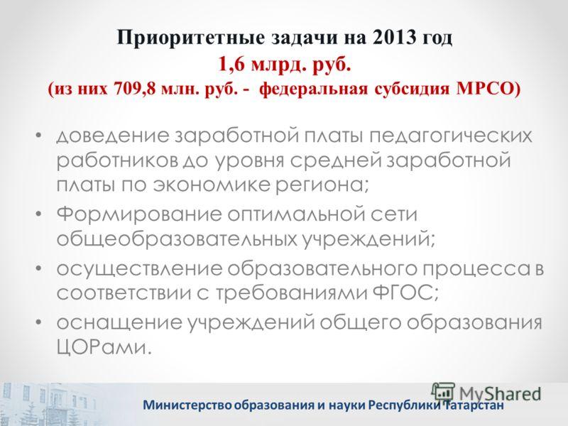 Приоритетные задачи на 2013 год 1,6 млрд. руб. (из них 709,8 млн. руб. - федеральная субсидия МРСО) доведение заработной платы педагогических работников до уровня средней заработной платы по экономике региона; Формирование оптимальной сети общеобразо