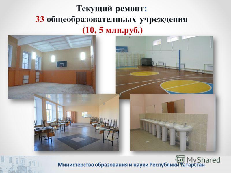 Текущий ремонт: 33 общеобразователньых учреждения (10, 5 млн.руб.)