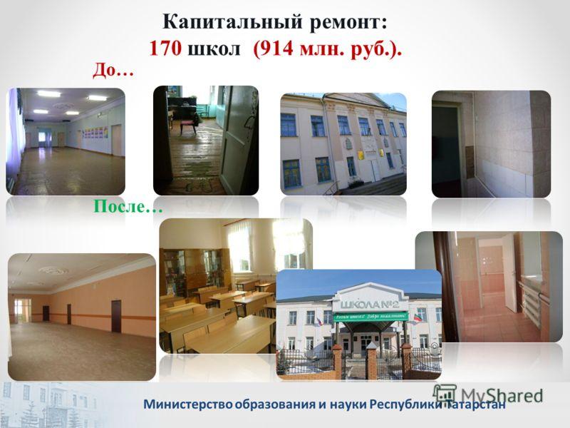 Капитальный ремонт: 170 школ (914 млн. руб.). После… До…